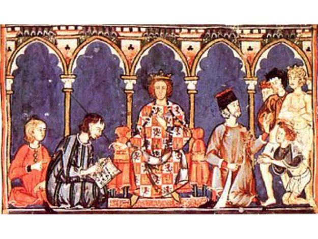 """Alfonso X """"El Sabio"""" y su Corte. Detalle del Libro de los Juegos o Libro del Ajedrez, Dados y Tablas (año 1283), Folio 65R"""