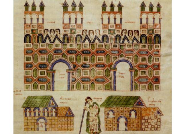 La ciudad de Toledo en tiempos de los visigodos. Detalle del Códice Albeldense o Vigiliano (folio 142)